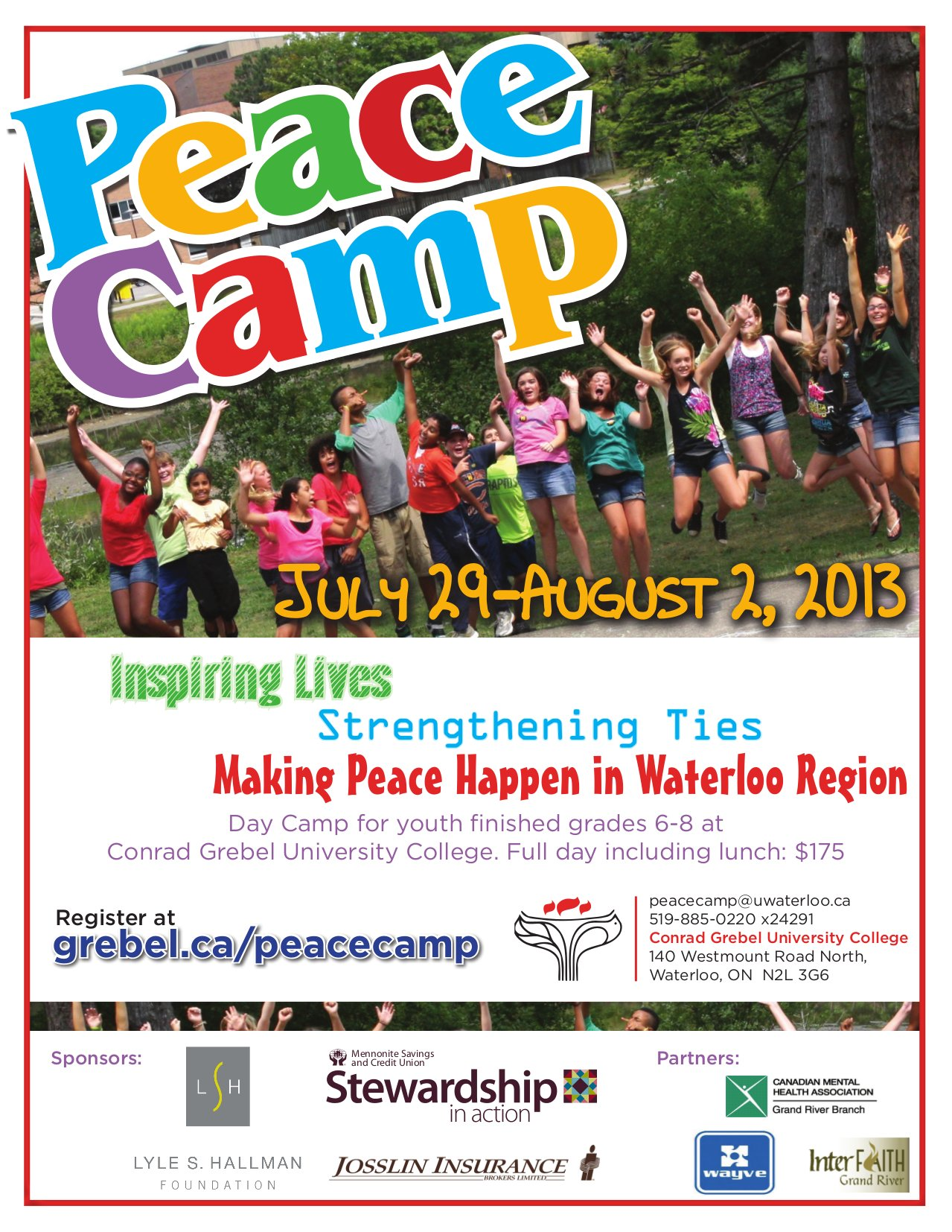 Peace Camp July 29 -- August 2, 2013