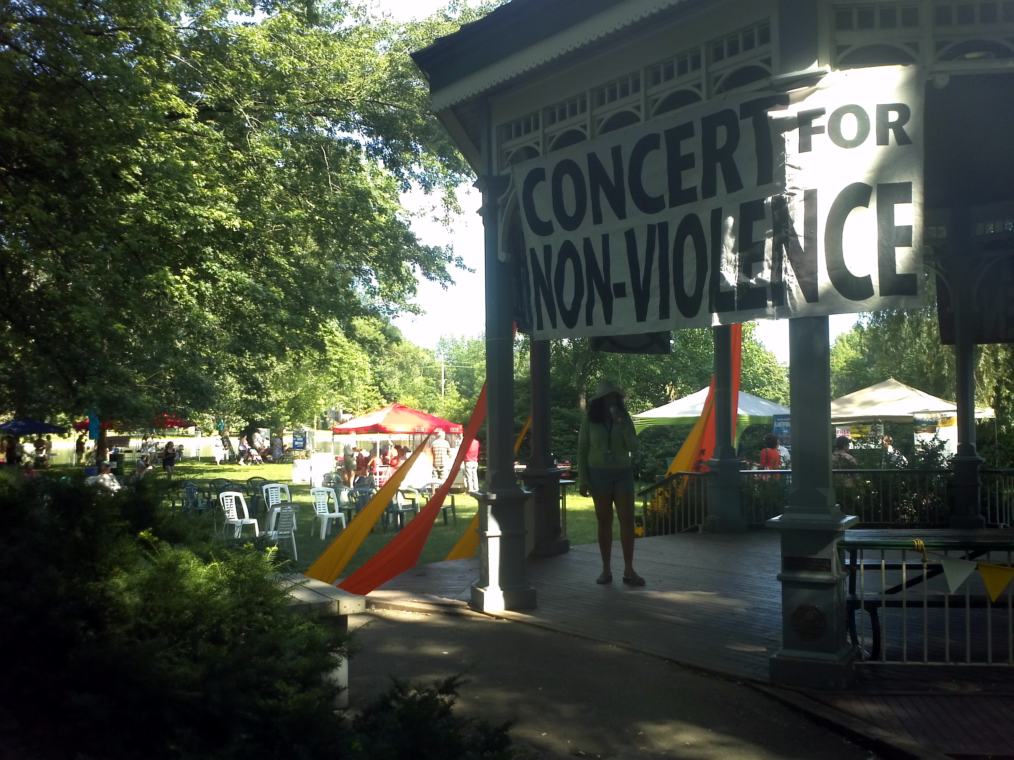 "The Gazebo showing banner ""Concert for Non-Violence"""