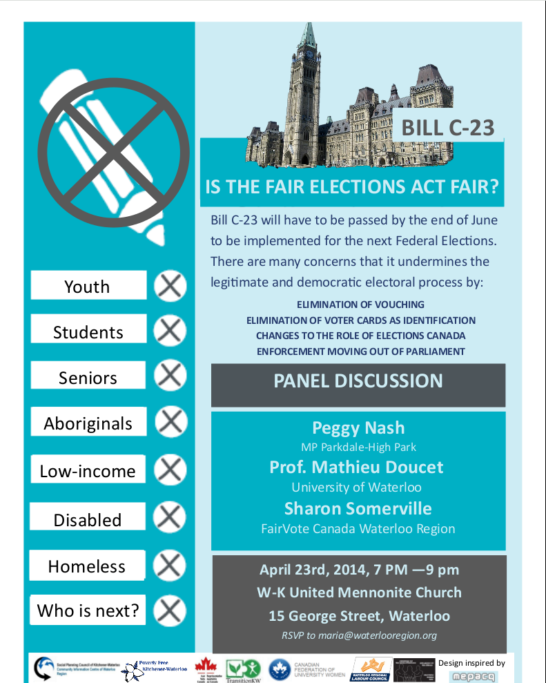 """Is Fair Elections Act Fair?"" poster"
