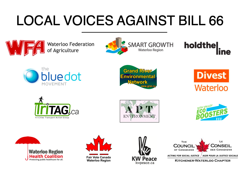 Local Voices Against Bill 66 with logos for: Waterloo Federation of Agriculture; Smart Growth Waterloo Region; Hold The Line; The Bluedot Movement; Grand River Environmental Network; Divest Waterloo; TriTAG.ca; APT Environment; Nith Valley Ecoboosters; Waterloo Region Health Coalition; Fair Vote Canada Waterloo Region; KWPeace; The Council of Canadians