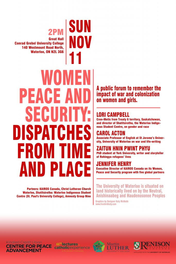 Women Peace and Security: Dispatches from Time and Place @ Great Hall, Conrad Grebel University College