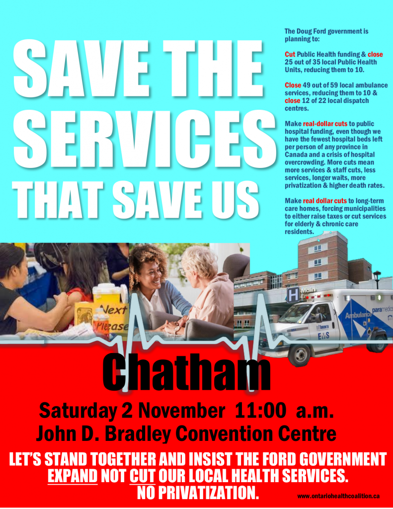 Save The Services That Save Us (poster for Chatham rally for WR Health Coalition)