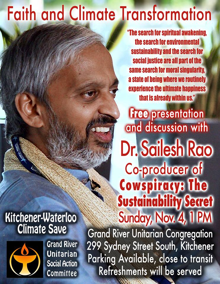 Faith and Climate Transformation: A presentation with Dr. Sailesh Rao @ Grand River Unitarian Church