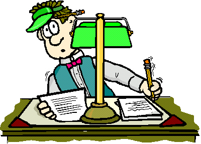 Illustration of a man writing furiously while peeking out from behind a desk lamp