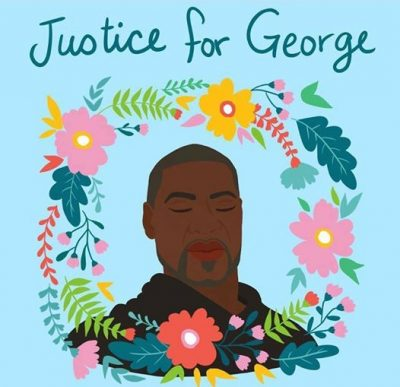 Justice for George (illustrtion of Geroge Floyd surrounded by a wreath of flowers)