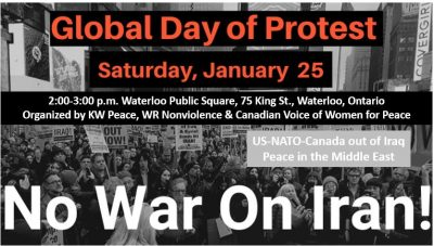 Global Day of Protest: No War On Iran - Waterloo @ Waterloo Public Square